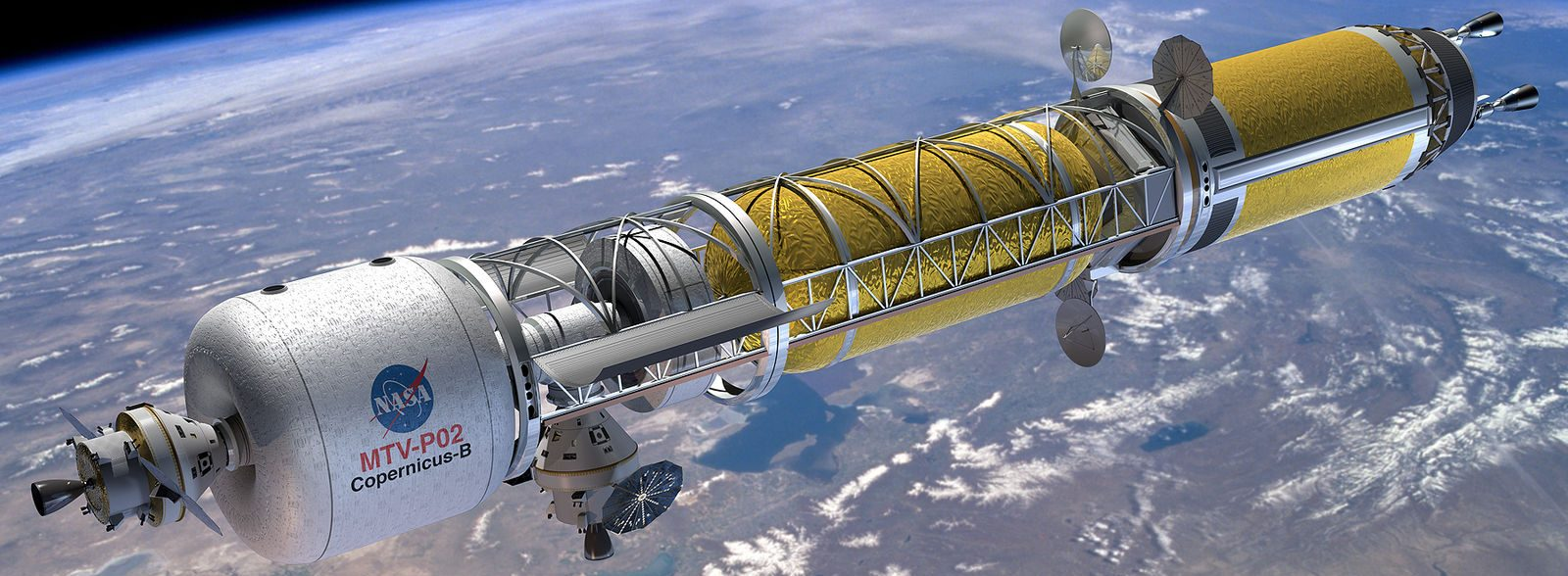 Artist's concept of Orion docked with a nuclear thermal engined Mars Transfer Vehicle.