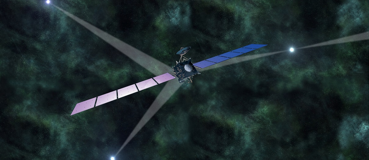 Artist's impression of ESA's Rosetta spacecraft, if it navigated in deep space using pulsar signals.