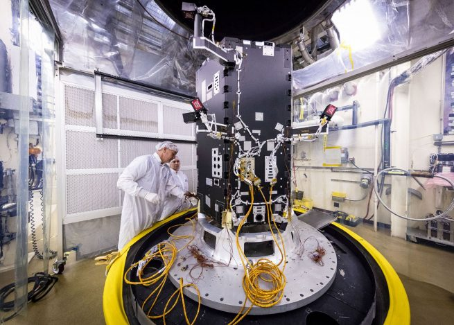 Engineers at the Johns Hopkins University Applied Physics Lab prepare the Solar Probe Plus spacecraft for testing. Photo credit: NASA/JHUAPL