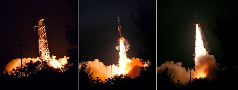 An ATV rocket, fitted with two scramjet engines, lifts off from the Satish Dhawan Space Centre (SDSC) in Sriharikota on Aug. 28, 2016.
