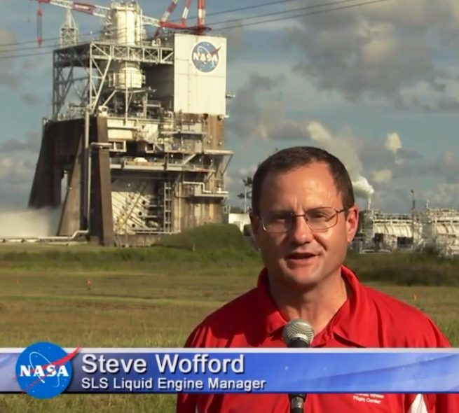 Steve Wofford, SLS Engine Manager, discusses the August 18, 2016, test. Image Credit: NASA TV