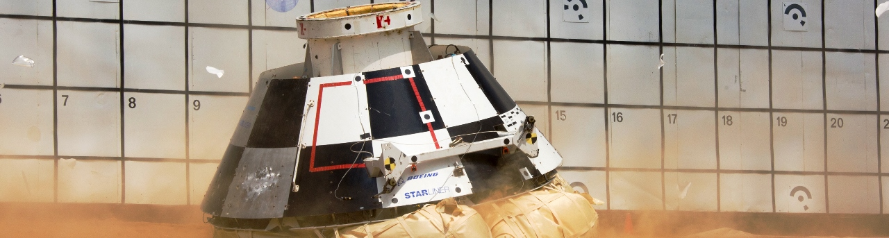 Boeing's CST-100 Starliner during the Aug. 24, 2016 drop test at NASA's Langley Research Center in Virginia. Photo Credit: NASA / Langley Research Center