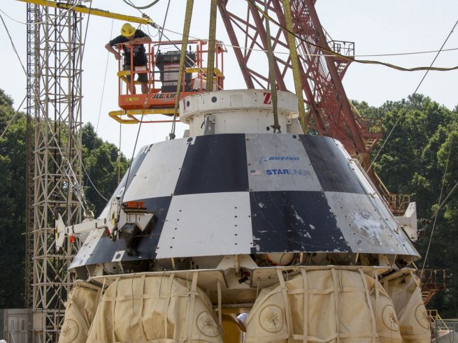 Boeing CST-100 Starliner spacecraft during drop tests conducted at NASA's Langley Research Center on August 25, 2016. Photo Credit: NASA