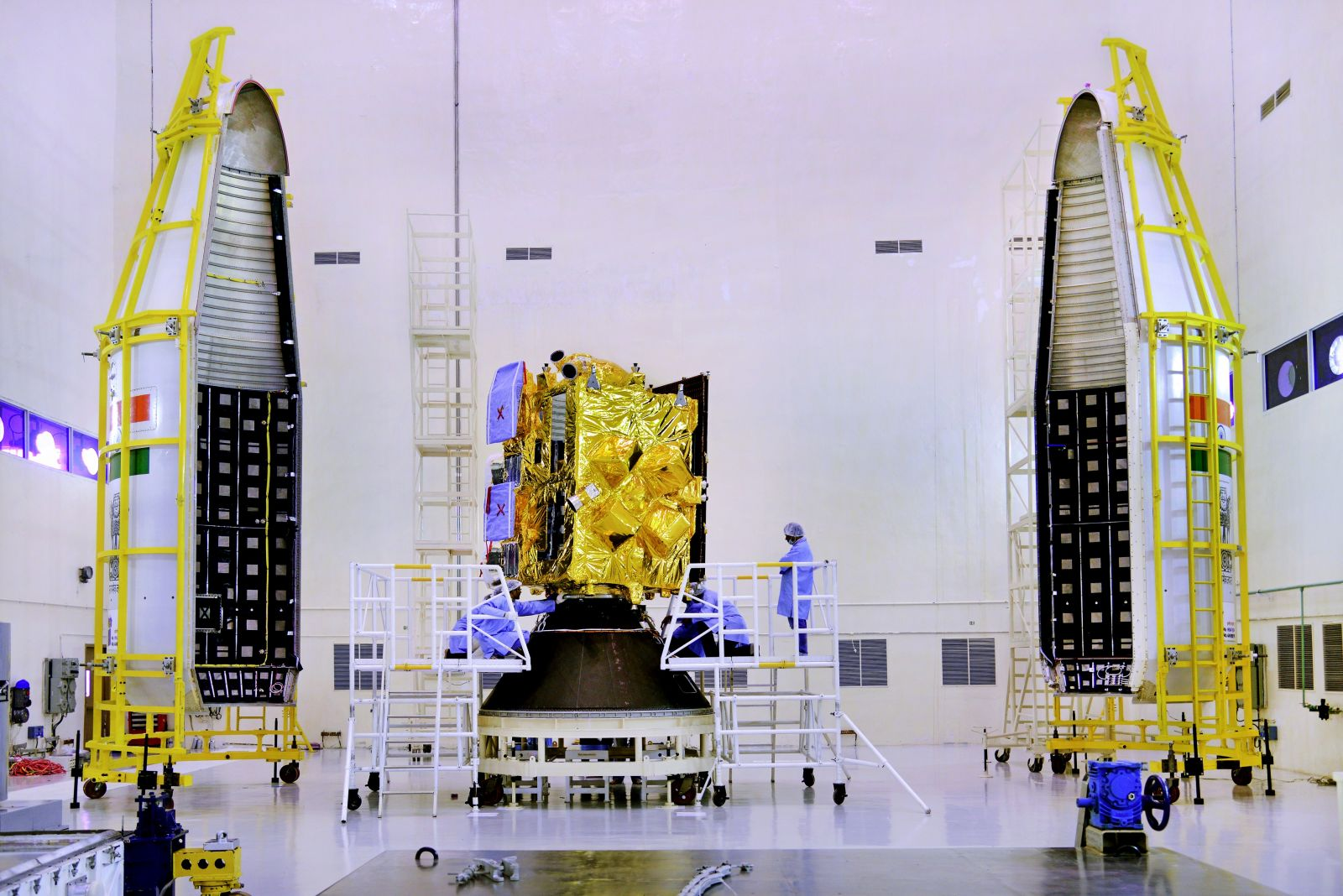 INSAT-3DR seen with two halves of payload faring of GSLV-F05.