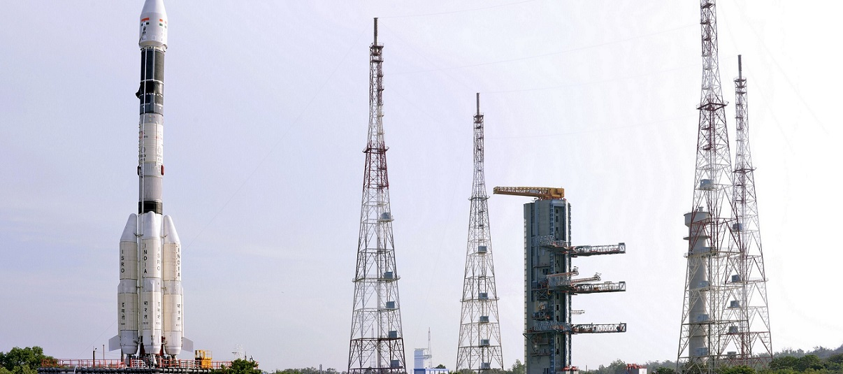 The fully integrated GSLV-F05 carrying INSAT-3DR approaching the second launch pad.