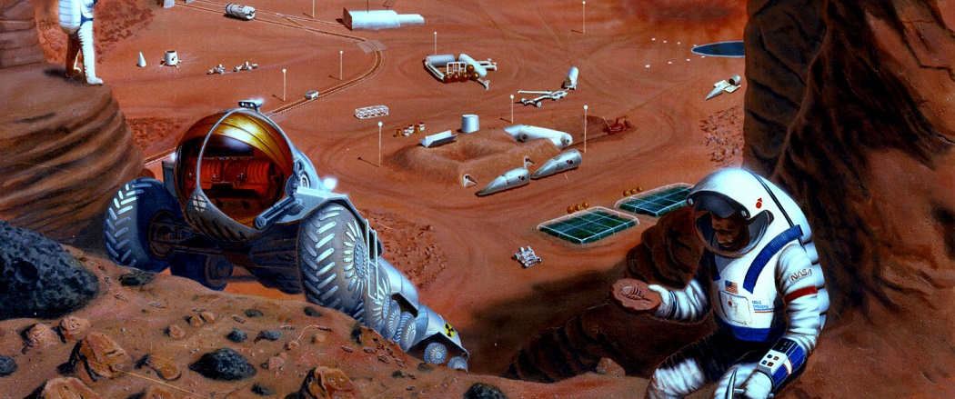 This artist's concept from 1985 depicts hardware which might be involved during manned missions to Mars.