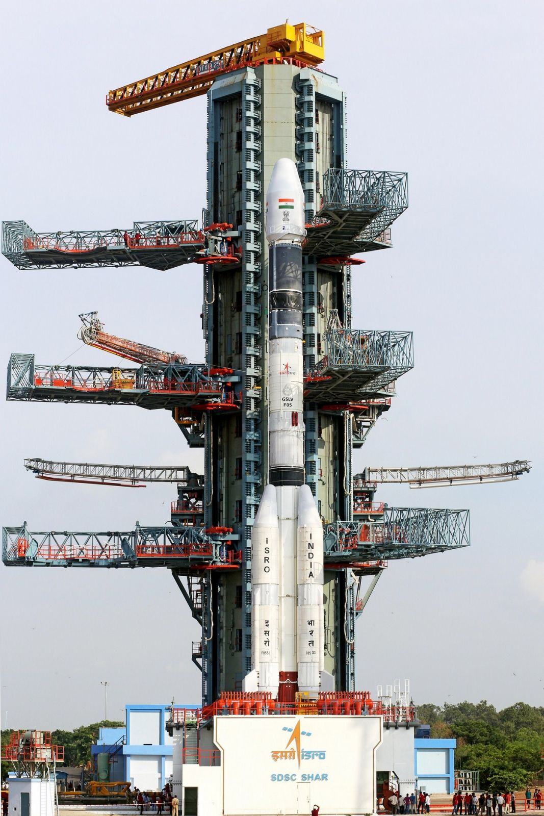 The fully integrated GSLV-F05 carrying INSAT-3DR, awaiting the launch.