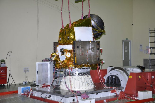 ScatSat-1 spacecraft undergoing vibration test.