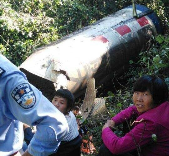 Parts of the Long March 4C's first stage found by local residents in the Shanyang province.
