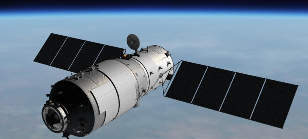 Artist's impression of the Tiangong-1 space laboratory in orbit.