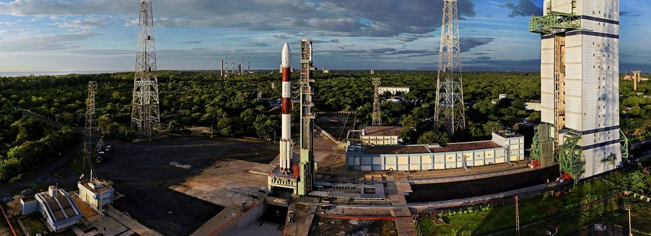 Panoramic view of PSLV-C35 at First Launch Pad.