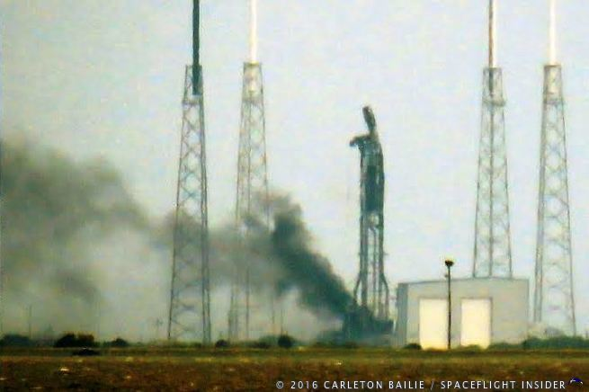 SpaceX Falcon 9 rocket at Cape Canaveral Air Force Station Space Launch Complex 40 Amos 6 Photo Credit: Carleton Bailie /SpaceFlight Insider