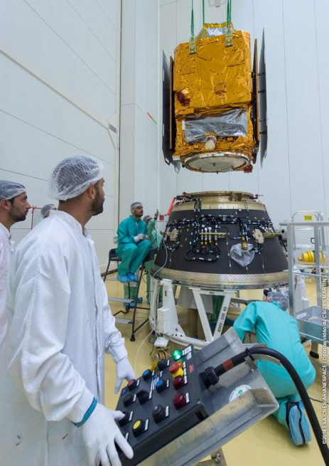 Vega VV07 launch: PerúSAT-1 is lowered onto its adapter hardware during fit-check activity.
