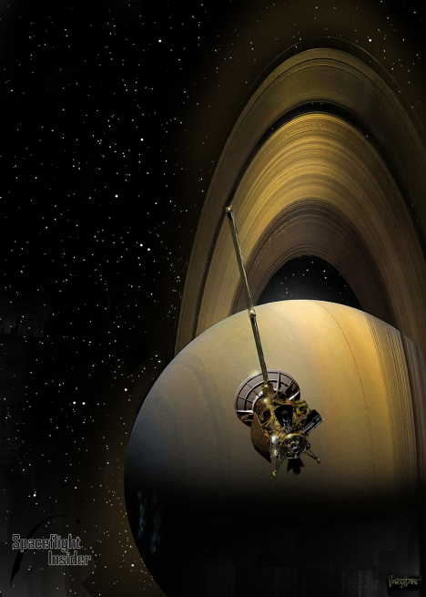 Cassini spacecraft in orbit above Saturn. Image Credit: James Vaughan SpaceFlight Insider