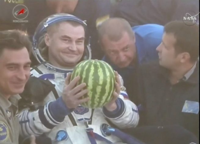 Ovchinin with a watermelon
