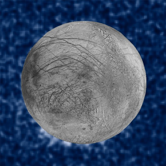 Europa, one of Jupiter's moons, appears to have water plumes ejecting out into space