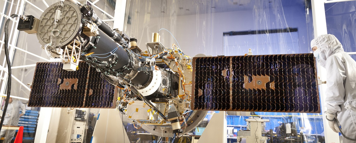 NASA's Interface Region Imaging Spectrograph (IRIS) with solar panels, seen here in the clean room at the Lockheed Martin Advanced Technology Center in Palo Alto, where it was designed and built.
