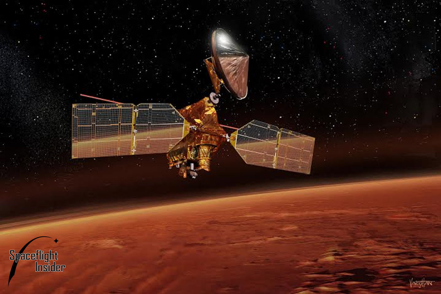 Artist's depiction of NASA's Mars Reconnaissance Orbiter above the Red Planet. Image Credit: James Vaughan / SpaceFlight Insider