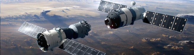Artist's rendering of Shenzhou 9 spacecraft docking with Tiangong-1 space laboratory.