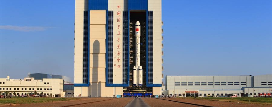 Long March 2F rocket with the Tiangong-2 space lab, being transferred from the assembling center to the launch site.