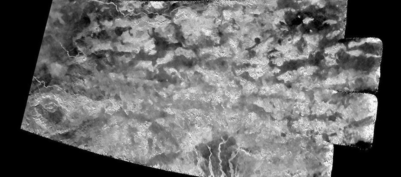"This synthetic-aperture radar (SAR) image was obtained by NASA's Cassini spacecraft on July 25, 2016, during its ""T-121"" pass over Titan's southern latitudes. Image Credit: NASA/JPL-Caltech/ASI/Université Paris-Diderot"