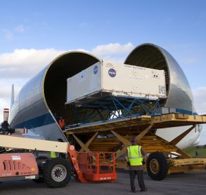 EM-1 Orion heat shield component offloaded at Kennedy Space Center. Image Credit: NASA