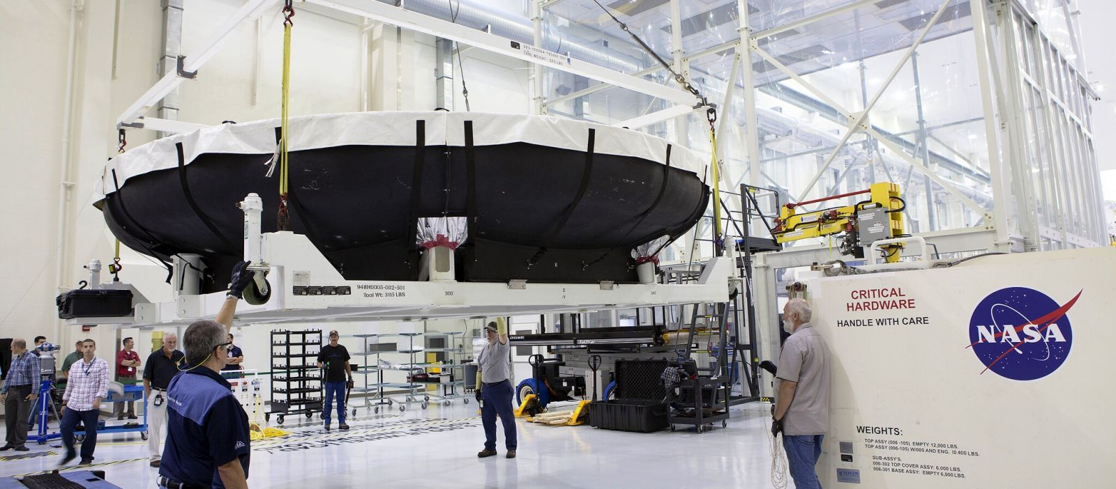 EM-1 Orion heat shield structure delivered to Kennedy Space Center.
