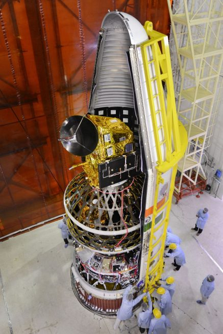 The PSLV fairing is being closed with all eight satellites inside.