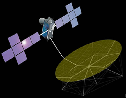 Artist's rendering of the EchoStar 21 satellite.