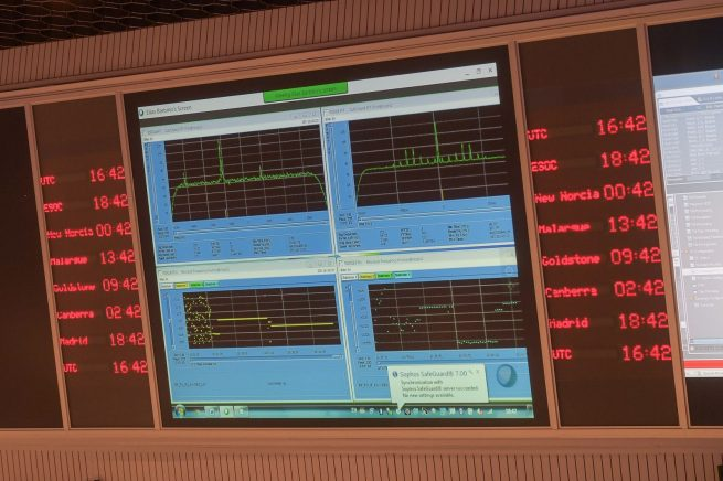 Signal received from the ExoMars mission in ESA's ESOC mission control center, Darmstadt, Germany, Oct. 19.