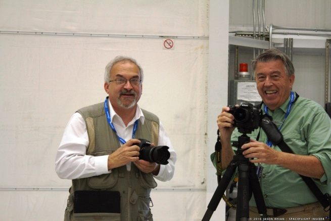 From left-to-right, SpaceFlight Insider's Mark Usciak and Charles Twine beam during a tour of Wallops Flight Facility's Horizontal Integration Facility. Photo Credit: Jason Rhian / SpaceFlight Insider