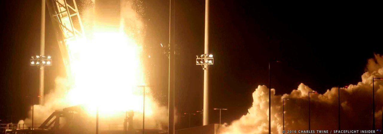 An Orbital ATK Antares 230 rocket lifted off from Pad 0A at the Mid-Atlantic Regional Spaceport (MARS) at 7:45 p.m. EDT (23:45 GMT) on Monday, Oct. 17, 2016. Photo Credit: Charles Twine / SpaceFlight Insider