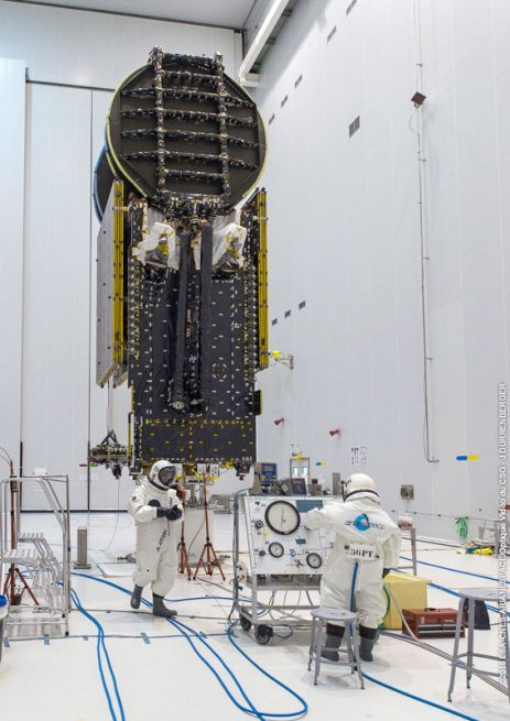 Sky Muster II undergoes its fueling process in the Spaceport's S5 payload preparation facility.