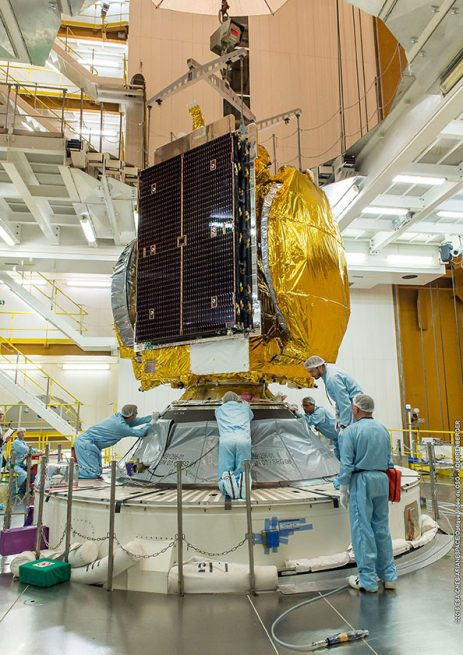 GSAT-18 is installed atop Ariane 5's core stage inside the Spaceport's Final Assembly Building.