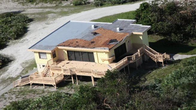 "The ""astronaut beach house"" sustained significant damage to its roof. Credit: NASA"