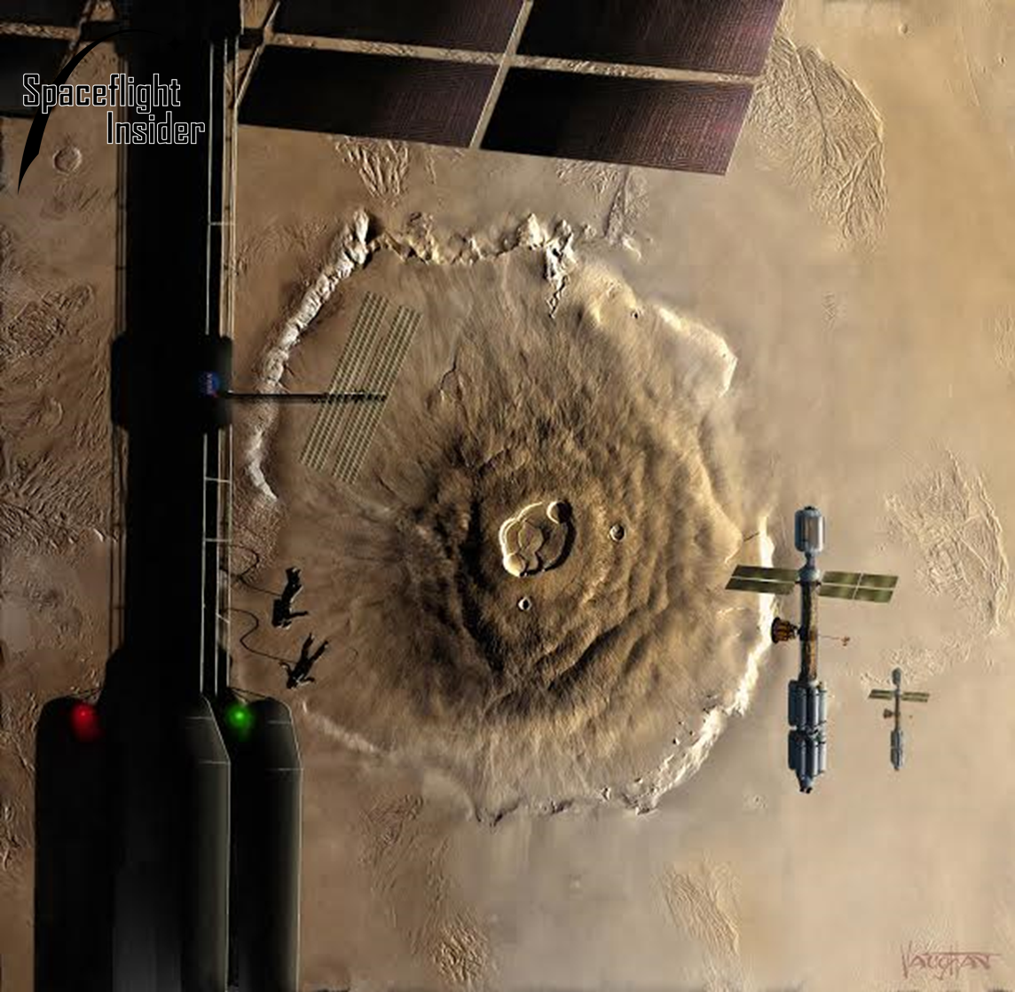 SpaceX: Crewed spacecraft in orbit above the Red Planet