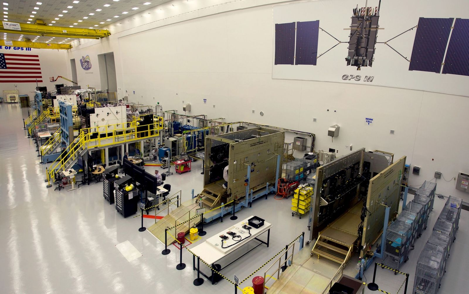 Multiple GPS III satellites in production at Lockheed Martin's GPS III Processing Facility near Denver, Colorado. Image credit: Lockheed Martin