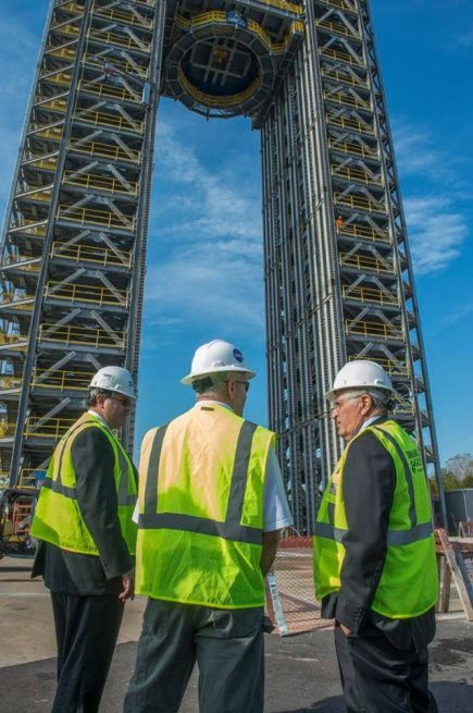 Todd May, MSFC Director (left), and Harrison Schmitt (right), view the new SLS core stage liquid hydrogen tank test stand at MSFC. Photo Credit: NASA