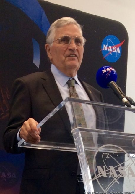 Harrison Schmitt speaks to media at UAH. Photo Credit: Scott Johnson / SpaceFlight Insider