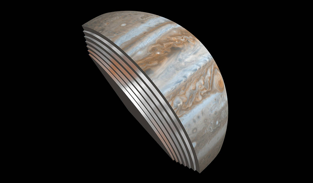 This composite image depicts Jupiter's cloud formations This composite image depicts Jupiter's cloud formations as seen through the eyes of Juno's Microwave Radiometer (MWR) instrument as compared to the top layer, a Cassini Imaging Science Subsystem image of the planet. Image Credit: NASA/JPL-Caltech/SwRI/GSFC