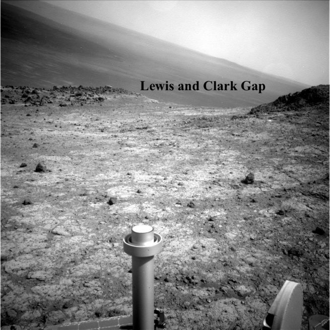 Opportunity at the Lewis and Clark Gap near Endurance Crater. Image Credit: NASA / JPL / MSSS posted on SpaceFlight Insider
