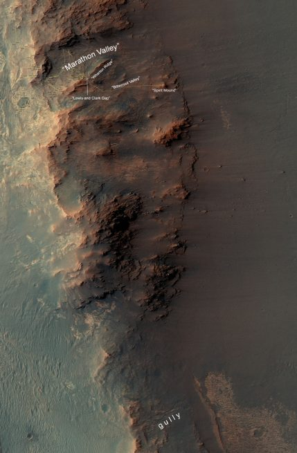 From Marathon Valley to Gully on Endeavour Rim investigated by NASA's Mars Exploration Rover Opportunity in 2015 and 2016.
