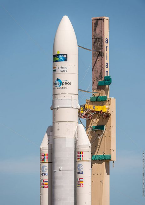 Ariane 5 approaches the ELA-3 launch zone in Kourou, French Guiana.