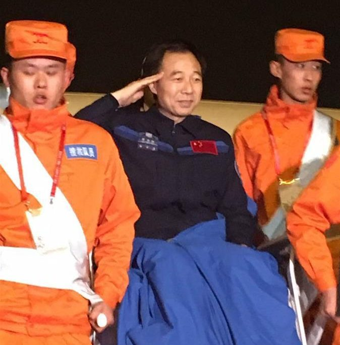 Shenzhou 11's commander Jing Haipeng after successful landing on Nov. 18.