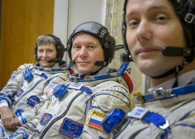 Soyuz MS-03 crew after qualification exams in october