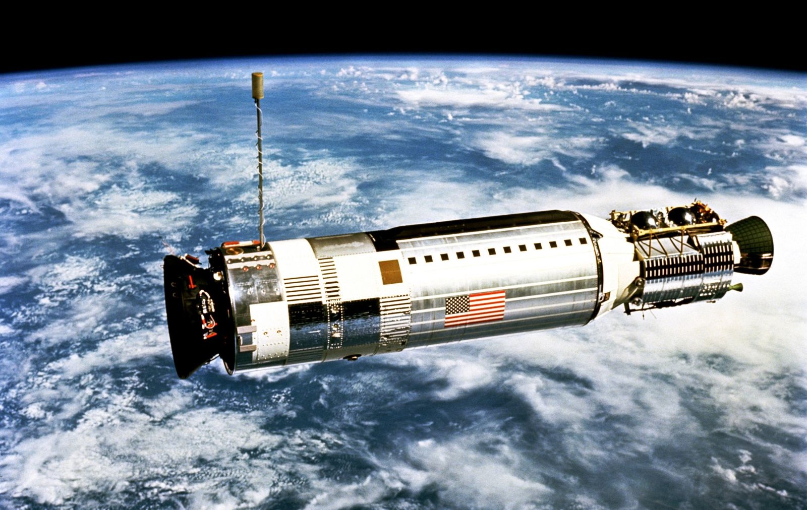The Agena docking vehicle some 50 feet away from the Gemini XII spacecraft. Photo Credit: NASA