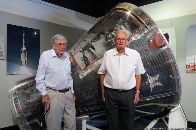 Retired U.S. Air Force Major Bud Evens and USAF Colonel Albert Crews detailed their part in the Manned Orbiting Laboratory program of the 1960s during an event held at Cape Canaveral Air Force Station on Nov. 3, 2016. Photo Credit: Carleton Bailie / SpaceFlight Insider