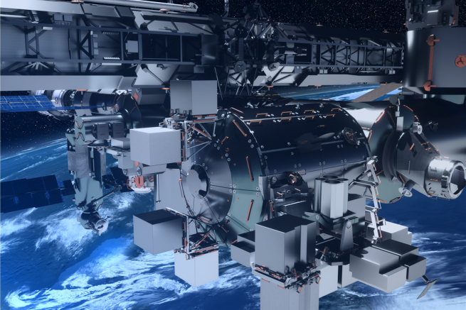 Artist's rendering of the Bartolomeo platform attached to the ISS Columbus Module. The platform was brought to the ISS during SpaceX's CRS-20 Dragon mission in April 2020. Credit: Airbus Defence and Space.