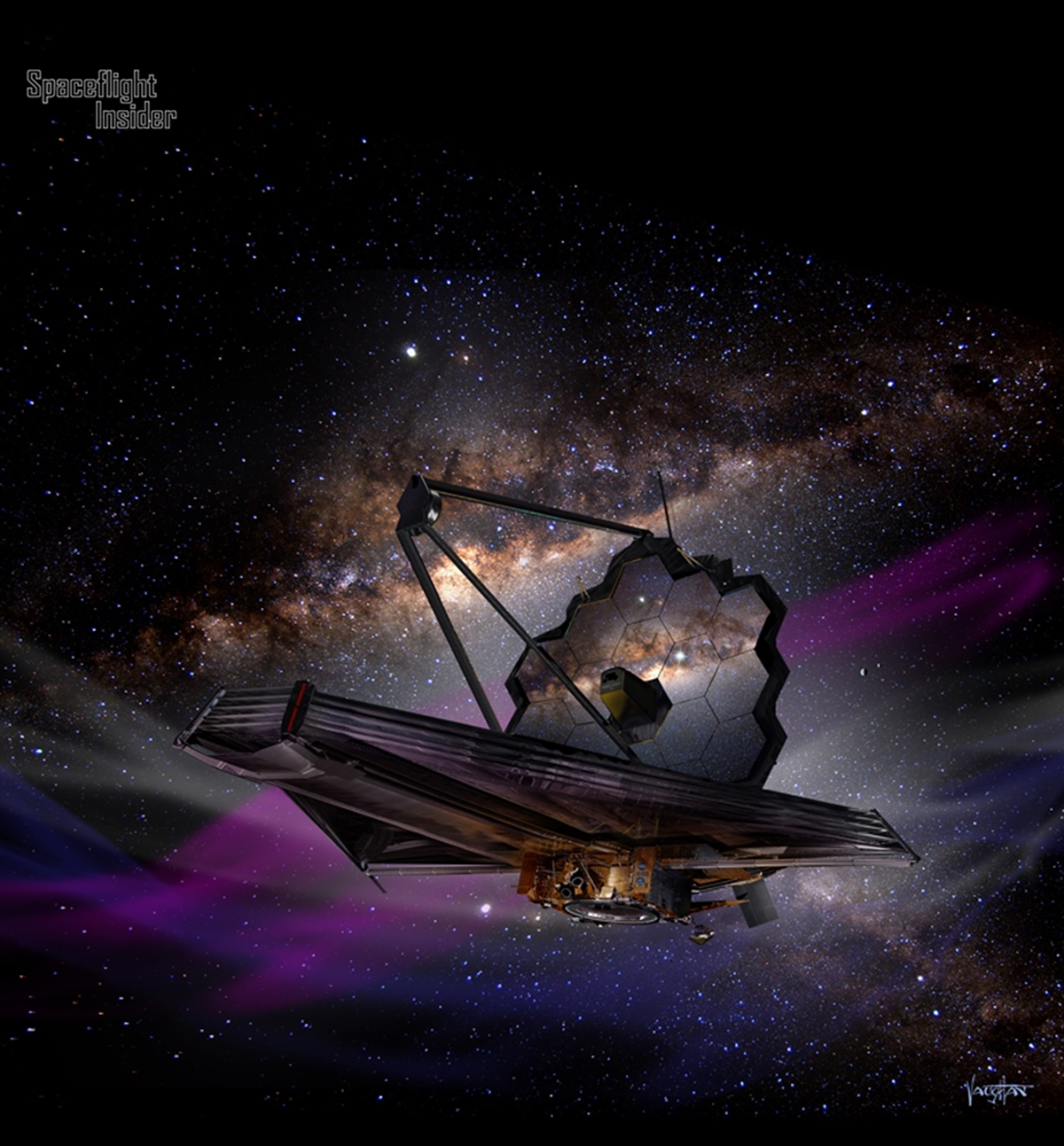 Artist's concept of the James Webb Space Telescope (JWST). Image Credit: James Vaughan / SpaceFlight Insider