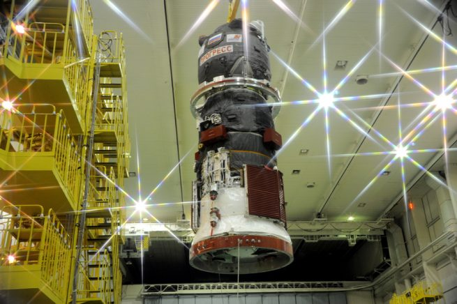 Progress MS-04 cargo vehicle at Baikonur's spacecraft processing facility.